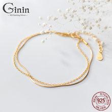 Ginin чистый 925 стерлингового серебра браслет для женщин Модная