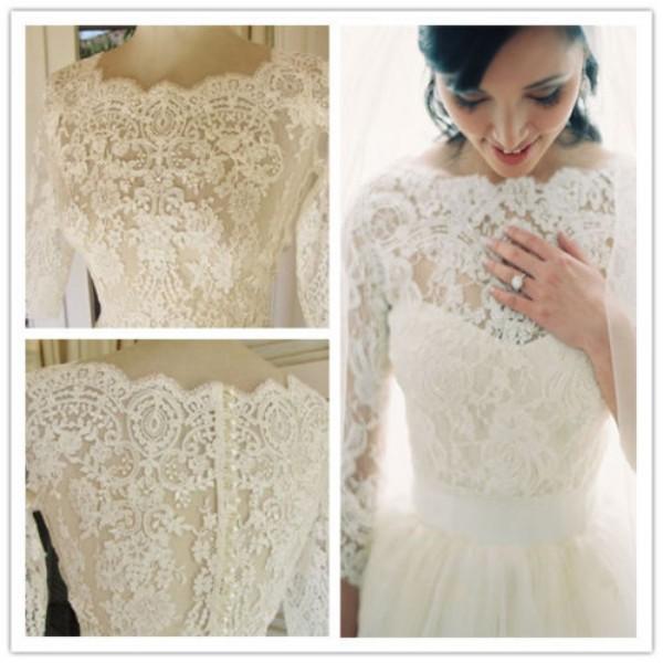 Gorgeous 3/4 Sleeve Sheer Lace Pearl Bridal Wedding Jacket Shawl Bolero Wraps Wedding Accessories Vintage Lace Appliques