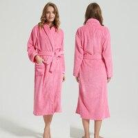 Women Bathrobe Winter Thick Bride Robe With Belt Ladies 100% Cotton Long Hooded Bath robe Warm Towel Fleece Sleepwear Bath Gown
