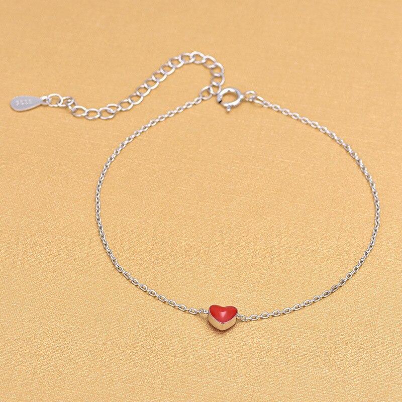 925 Sterling Silver Jewelry Women Bracelets Beautiful Red Enamel Charm Bracelet Summer Jewelry Gifts