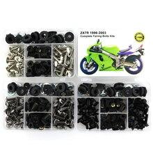Комплект болтов для мотоцикла Kawasaki ZX7R, полный комплект болтов обтекателей с полным покрытием, боковая крышка, винты, зажимы, гайка, сталь