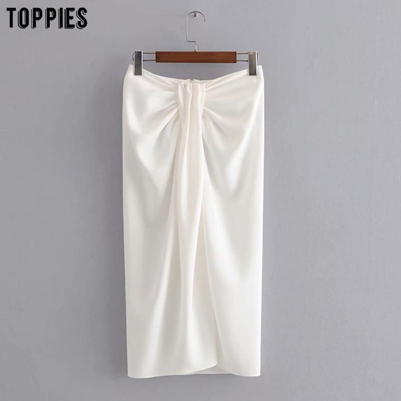 Summer White Midi Skirts Womens Wrapped Knotted Skirts High Waist Ladies Faldas Back Zipper