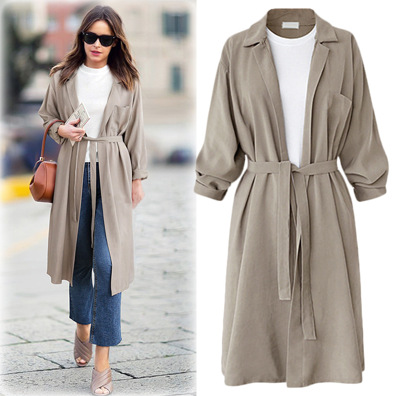 Women Coats Winter New Solid Casual Cotton   Trench   Large Size Long Beige/Green Coat Thin   Trenches   Temperament Commuting