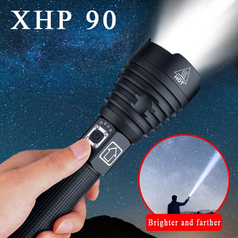 High Lumens Xhp90 Most Powerful Led Flashlight  Usb Rechargeable Torch  Xhp50 Xhp70 Hand Lamp 26650 18650 Battery Flash Light