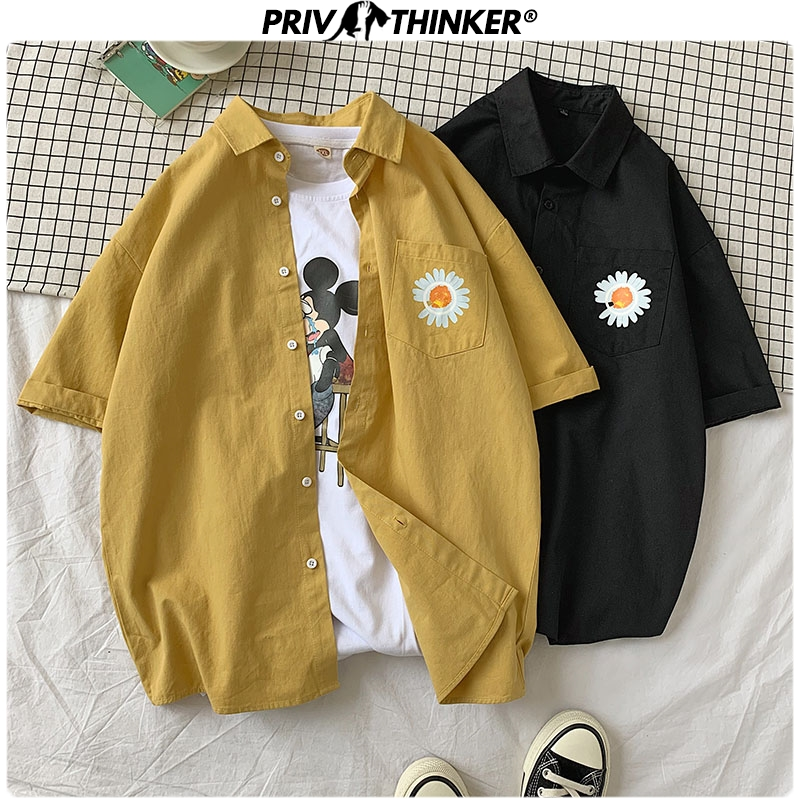 Privathinker Men Summer Flower Printed Casual Shirts 2020 Men Korean Short Sleeve Streetwear Clothes Male Colorful Shirts 5XL