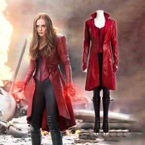 Мстители Бесконечность война Капитан Америка Гражданская война красные женские костюмы на Хэллоуин пальто Скарлет ведьма косплей Ванда ко...