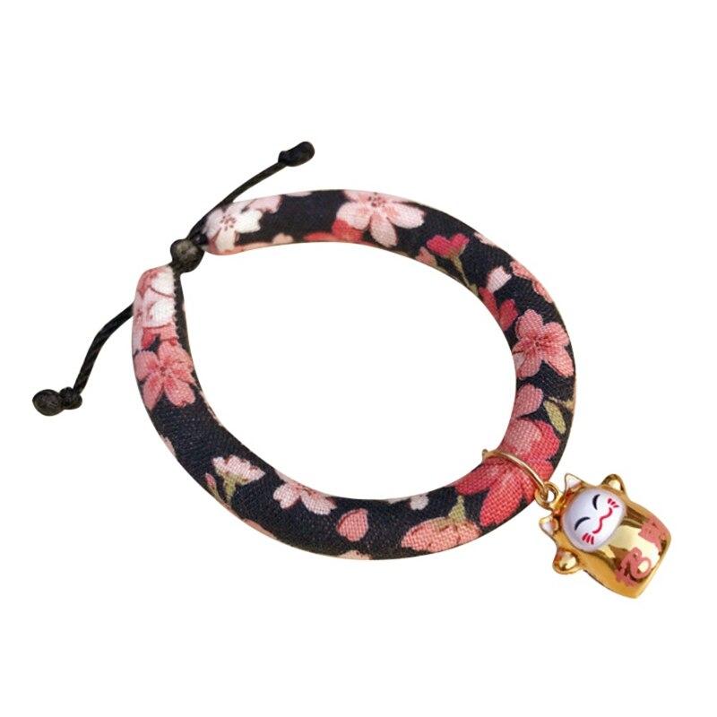 Цветное напечатанное ожерелье ручной работы колокольчик Ошейник Кошка для галстука аксессуары для домашних животных щенок Печатный Регулируемый с - Цвет: A