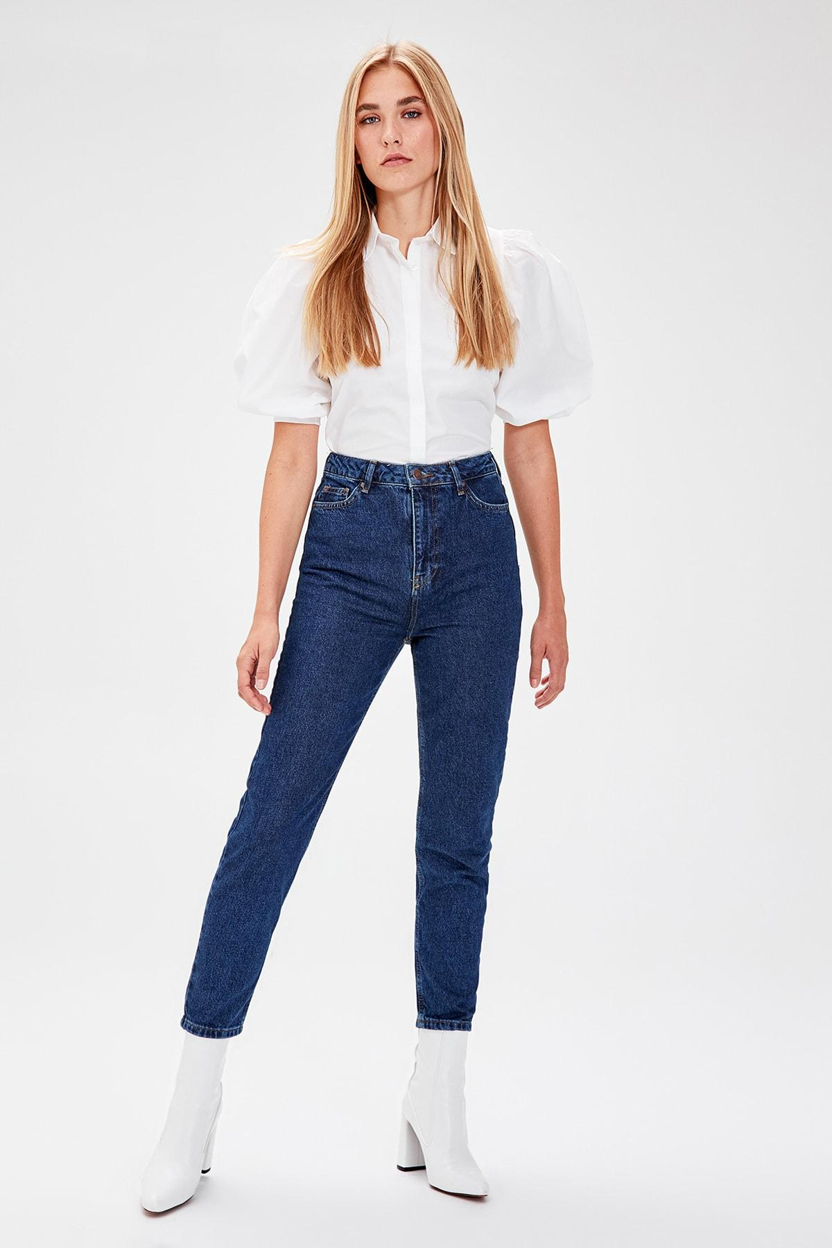 Trendyol Navy 2014basic High Waist Mom Jeans TWOAW20JE0052