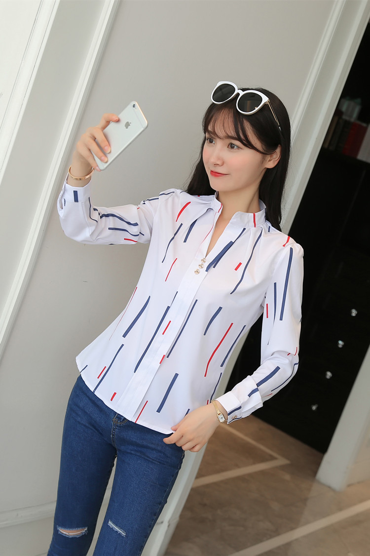 He5433b58b95049b09e0ff9651e88384fI - Women Fashion White Tops and Blouses Stripe Print Design Casual Long Sleeve Office Lady Work Formal Shirts Female Plus Size