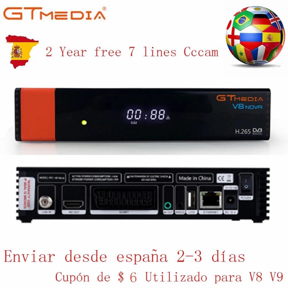Gtmedia Built-in WIFI H.265 Power By V8 Nova Freesat 2 Year Europe Server 7 Line Decoder For Spain DVB-S2 Satellite Receiver