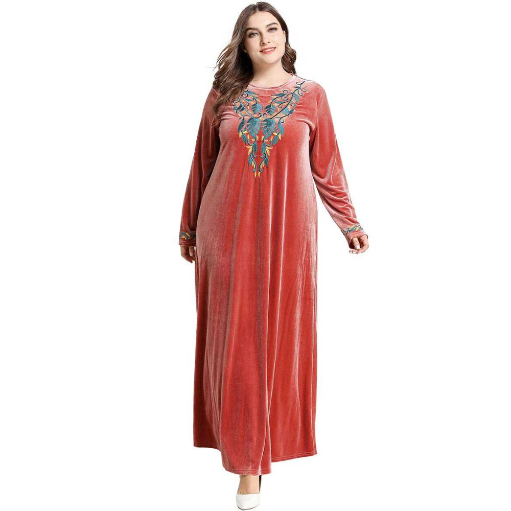 Plus Size Solid Long Sleeve Velvet Muslim Abaya Autumn Winter Contrast Color Floral Embroidery Maxi Long Dresses Casual Vestidos