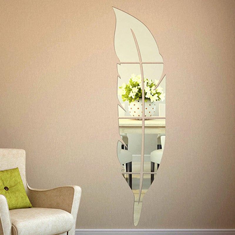 1 шт. зеркальные настенные наклейки в форме пера для украшения дома в спальню, Пластиковые самоклеящиеся пленки, аксессуары, 3D стикер на стен...