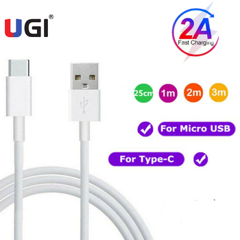 UGI 2A Fast Charging Type C USB C Cable Lot For Samsung Huawei Oneplus Mobile Phone Tablet Data Sync Transfer 0.25M/1M/2M/3M PVC image