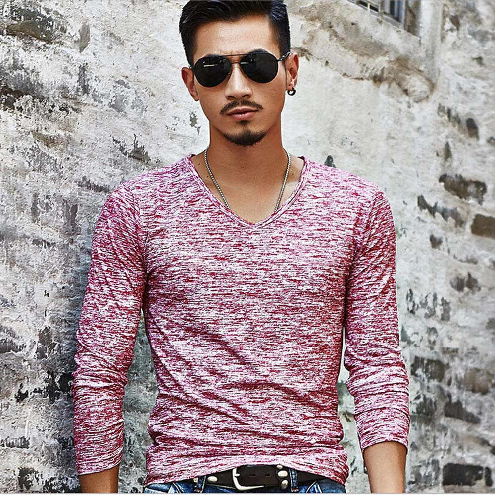 Camisa de manga comprida com decote em v sólida masculina básica inferior fino magro camisa plus size simples confortável casual topos 3xl ropa # d