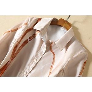 Image 3 - Chemise imprimée à manches longues, pour femme, ensemble élégant, jupe plissée pailletée, de haute qualité, 2020