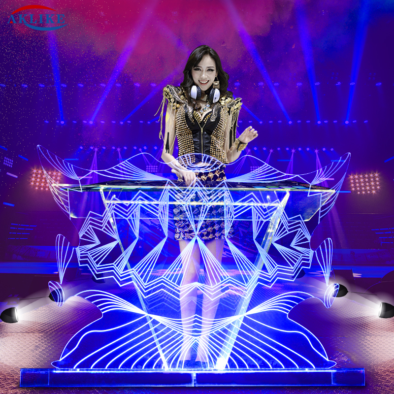 Dj Table Funktion One Lighted Dj Facade Aklike Dj Mixer Controller Booth Acrylic Customized Logo Furniture Desk