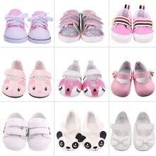 7cm roupas de boneca sapatos lantejoulas lona sapatos para 18 Polegada americano & 43cm bebê recém nascido renascer boneca geração brinquedo para meninas 1/3 blythe