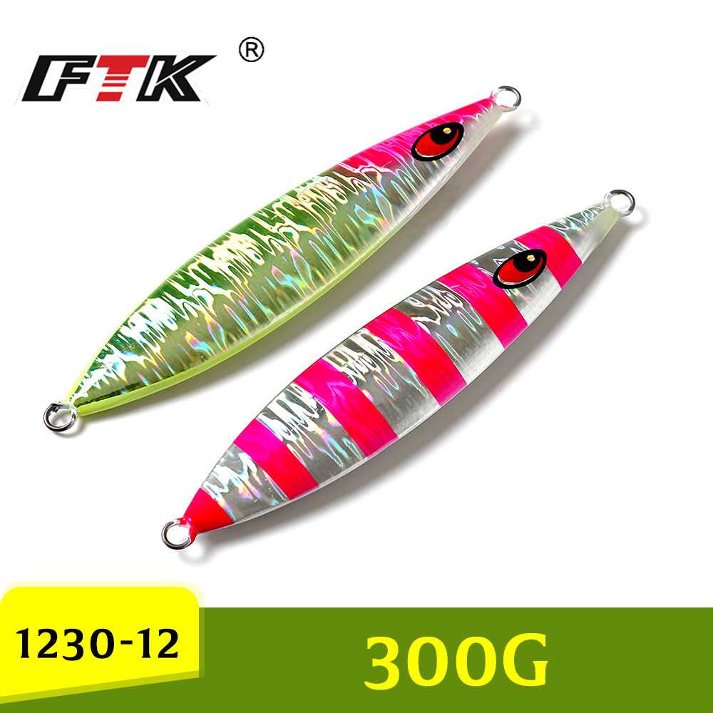 FTK new 1PC 2 Colors Weight 300g Leight 17cm Sinking Jig Fishing Bait Ocean Metal Sinker Lure image