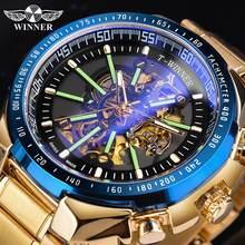 Winner Blue Light Glass New Fashion Mens Watches Black Golden Stainless Steel Waterproof Sport Automatic Watch Luminous Clock
