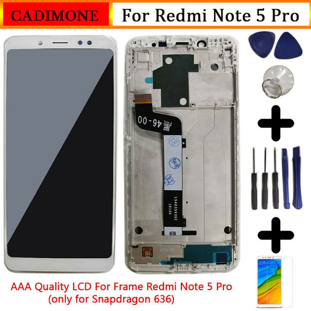 "Для Xiaomi Redmi Note 5 Pro ЖК экран с рамкой 5,99 ""10 сенсорный экран Замена Redmi Note 5 Pro LCD Snapdragon 636"