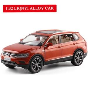 1/32 VW Volkswagen Tiguan L внедорожник, сплав, звук и светильник, откатная модель автомобиля, 6 дверей, можно открыть автомобиль, Игрушечная модель для д...