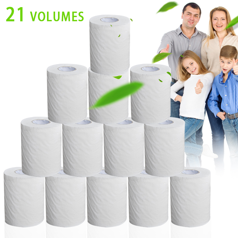 21 Rolls Toilet Paper Bulk Roll Bath Tissue Bathroom White Soft 4 Ply For Home New H9