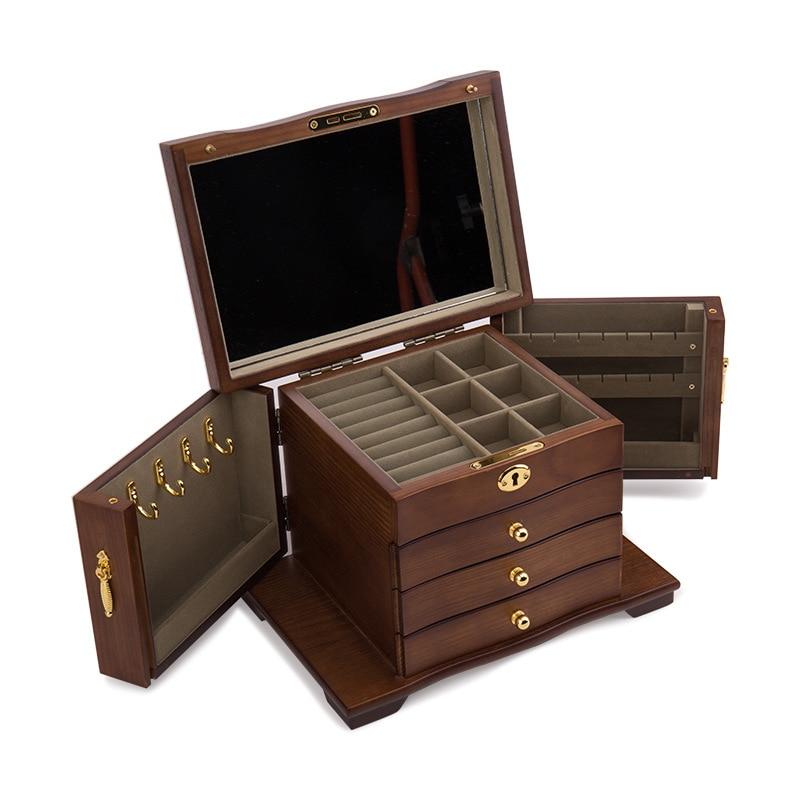 Bijoux en bois massif boîte grande capacité avec serrure style chinois antique bijoux boîte de rangement organisateur de bijoux d'affichage