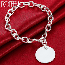 DOTEFFIL – Bracelet en argent Sterling 925 pour femme, étiquette circulaire, mode, bijoux de fête de fiançailles et de mariage