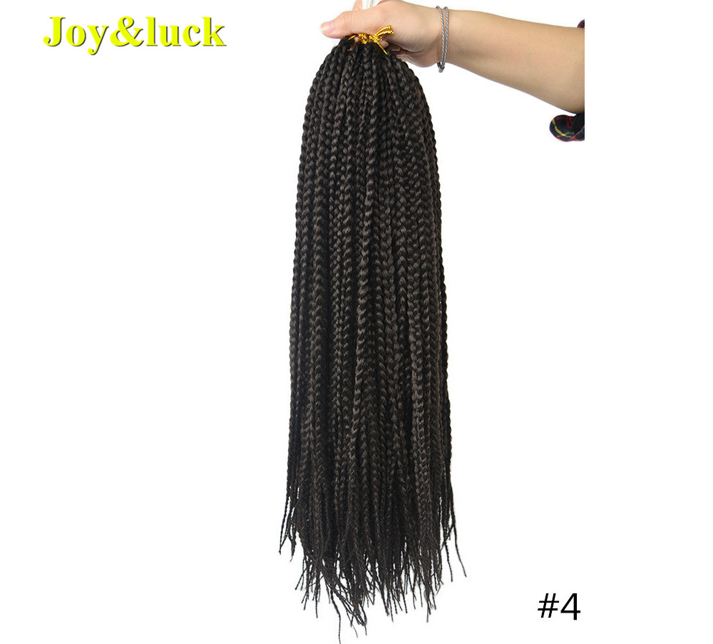Joy&luck Box Braids 22inch Long Synthetic Crochet Braiding Hair Ombre Color Braids Hair Extensions For Women