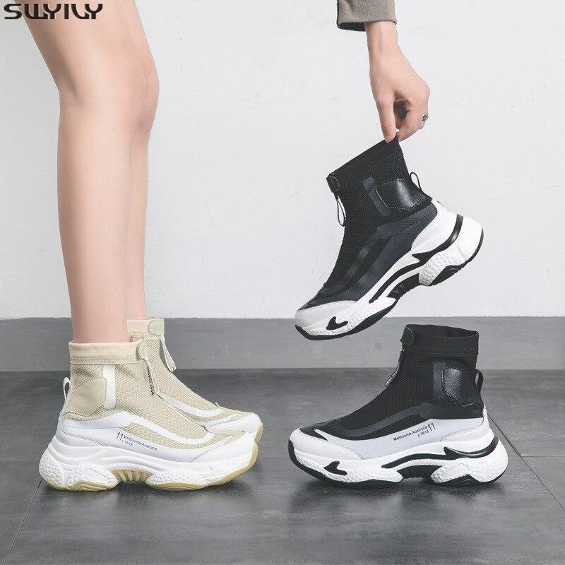 SWYIVY maille plate-forme baskets dames sans lacet chaussures femme décontractées 2020 printemps nouvelles femmes baskets mode chaussures à semelles compensées pour les femmes 35