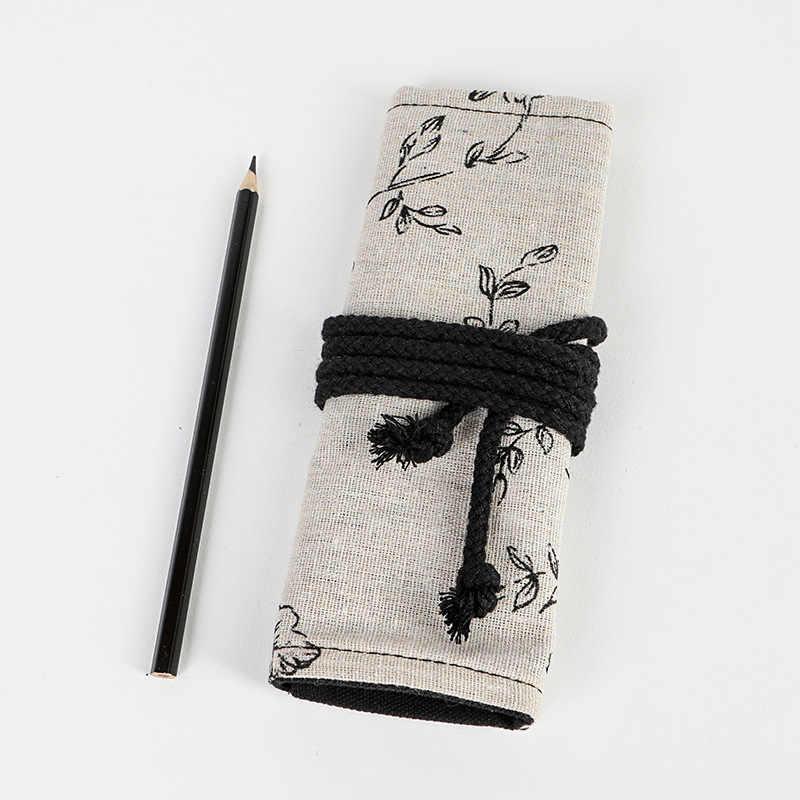 โรงเรียนกรณีดินสอ 12/24/36/48/72 หลุมดอกโบตั๋นพิมพ์ผ้าใบเครื่องเขียนกระเป๋าม้วน Pencilcase กฎหมายอาญาสำหรับสาวเด็กขนาดใหญ่ปากกากระเป๋า
