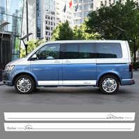 4 шт. боковые наклейки для дверей автомобиля для Volkswagen Multivan Transporter Caravelle T5 T6 наклейки на юбки автомобильные аксессуары