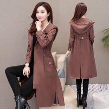 Trench-Coat Long pour femmes, coupe-vent fin, pardessus féminin, vêtements d'extérieur Slim, collection printemps-automne 2021