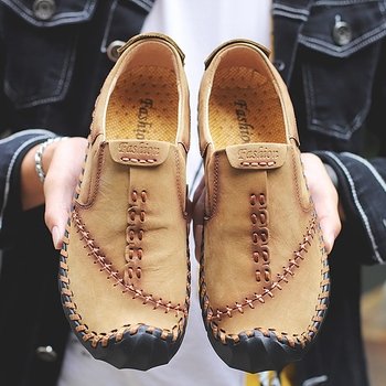 Large size 38-48 Men Fashion Genuine Leather Casual Loafers Soft Comfortable Breathable Flats Shoes Men Moccasins Driving Shoes spring autumn soft bottom genuine leather comfortable flats large size women shoes flat with lace casual shoes elderly shoes