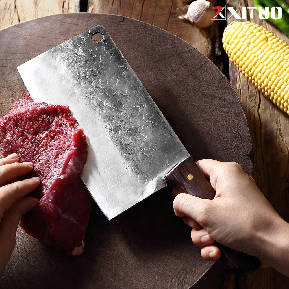 Xituo Xương Xay Thịt Và Thịt Rau Củ Handmade Dao Khách Sạn Nhà Bếp Hàng Thịt Đặc Biệt Dao Mangan Cao Thép Rèn Đầu Bếp Dụng Cụ