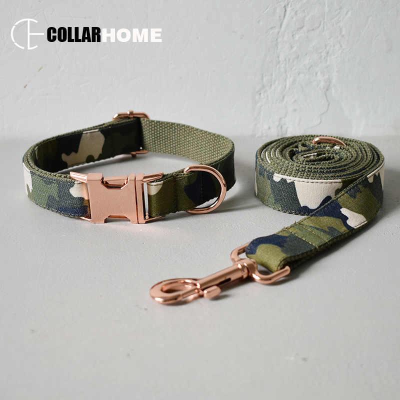 ไนลอนปรับสุนัขชุด Bow Tie สำหรับใหญ่สุนัขเล็กๆผ้าฝ้ายผ้าคอ Rose Gold camouflage องค์ประกอบสไตล์