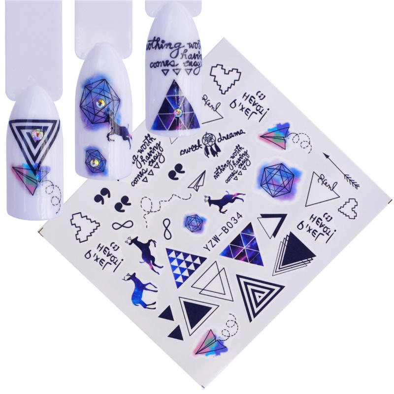 YWK 22 Designs Triangle / Animal / Deer Design Water Transfer Sticker Nail Art Decals DIY Fashion Wraps Tips Manicure Tools