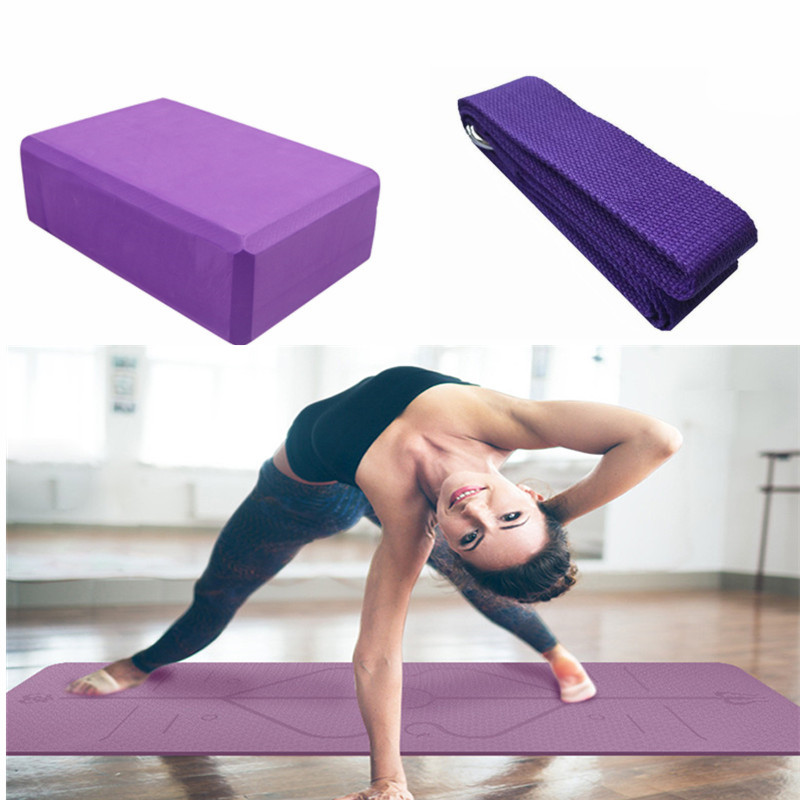 3pcs 1 Set 6mm TPE Yoga Mat With Body Line Non Slip Fitness Gym Sports Pilates Carpet Mat 183*61cm WITH Yoga Belt And Block