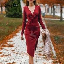 Simplee-vestido rojo vino con escote en V para mujer, vestido sexi de tubo con abertura, Vestido de manga larga ceñido informal para oficina y fiesta