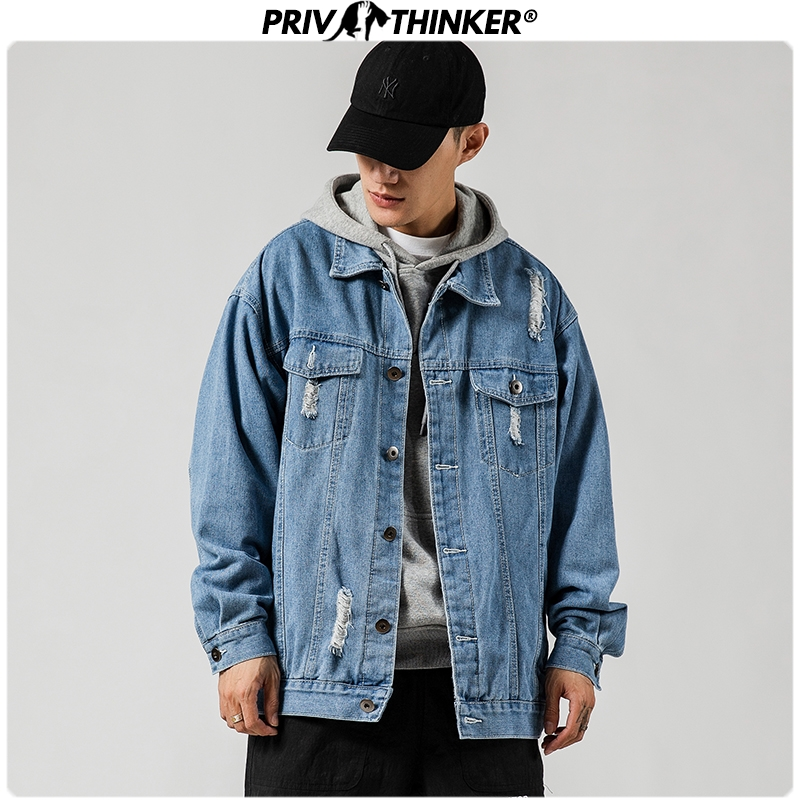 Privathinker Men Spring Solid Korean Hip Hop Denim Jackets 2020 Mens Korean Jacket Male Loose Streetwear Denim Coat Clothing 5XL