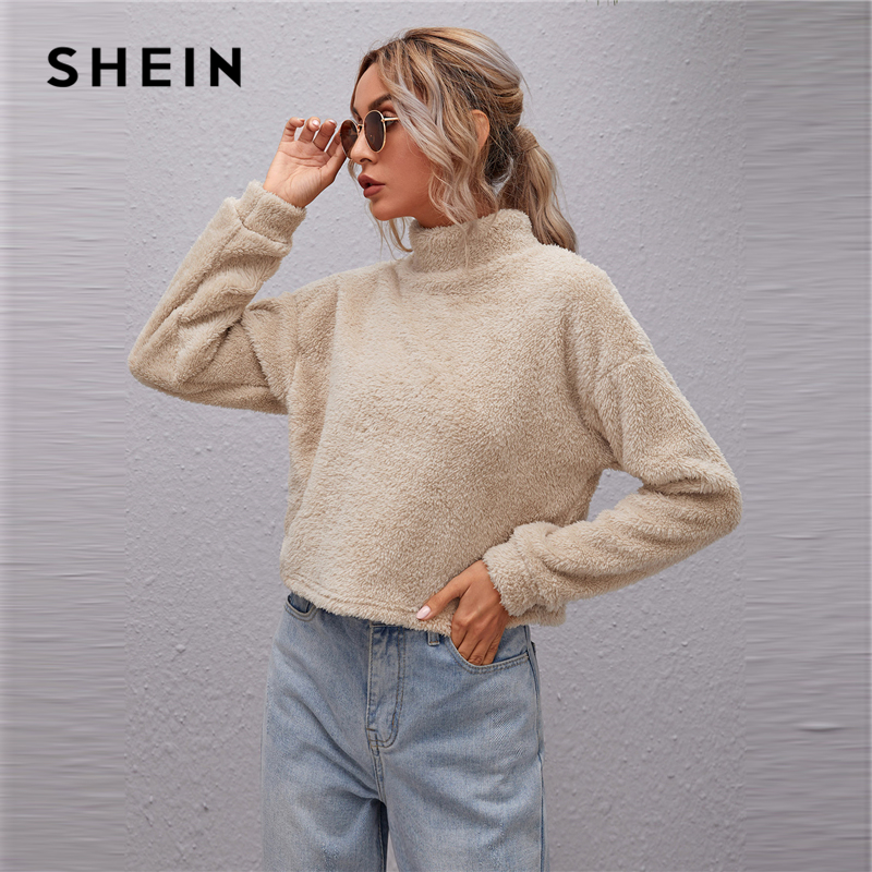 SHEIN Mock neck Drop Shoulder Teddy Pullover Women Sweatshirt Autumn Winter Solid Casual Shearling Sweatshirts|Hoodies & Sweatshirts| - AliExpress