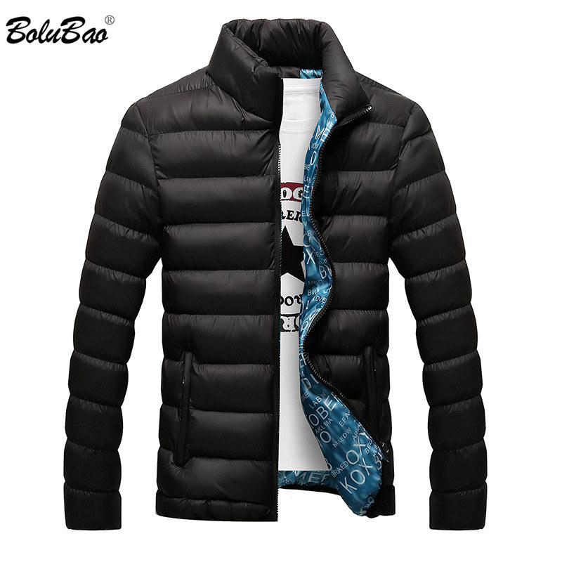BOLUBAO  Winter Jacket Men Parka Windproof Coat Male Lined Letter Print Solid Color Standing Collar Casual Male Parka Clothing