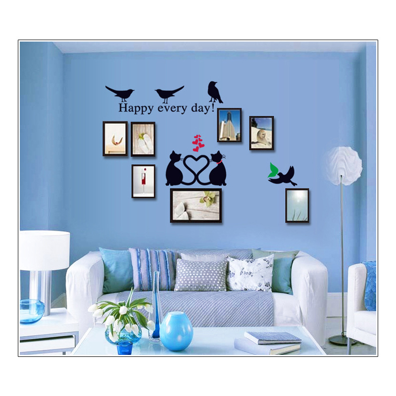 Little black cat photo frame love bird wall sticker for boys and girls room living decals Home decoration