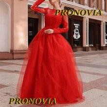 Красный Винтаж мусульманские Вечерние платья одежда с длинным