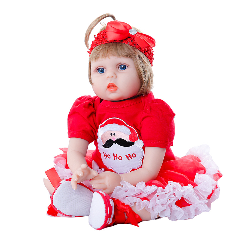 Baby Newborn Dolls with Red Clothes Blue Eyes Reborn Toys Silicone Girl  Realistic Handmade