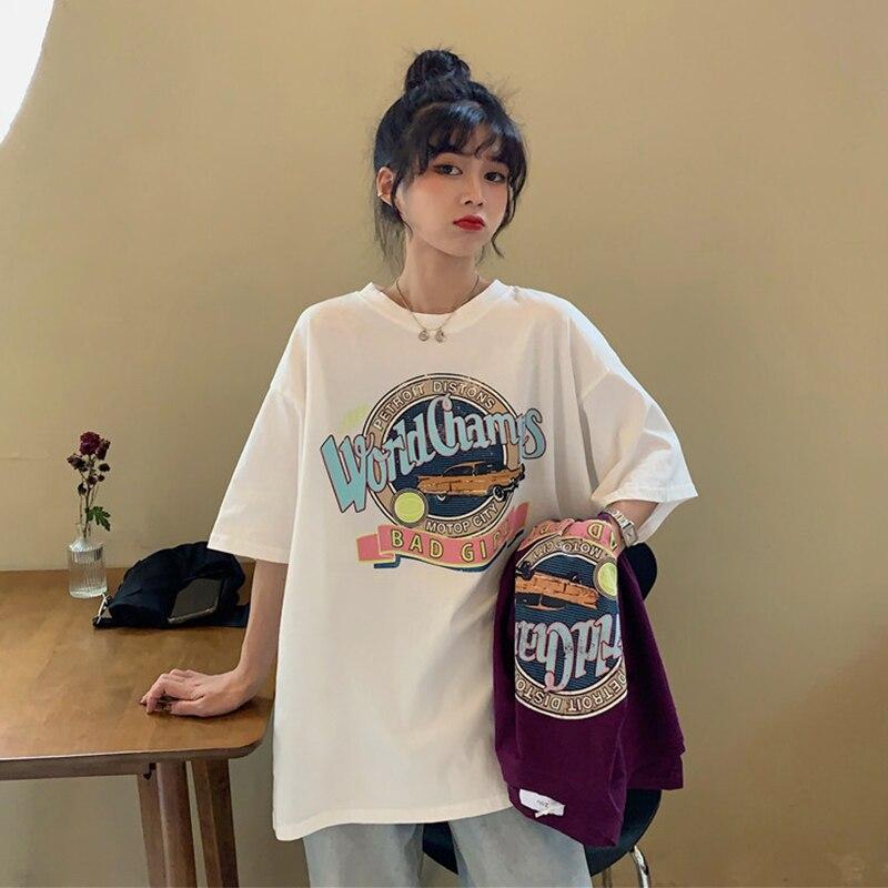 Женская футболка из чистого хлопка, белая свободная футболка с коротким рукавом и буквенным принтом в Корейском стиле, верхняя одежда, Нови...