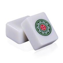Cor jade branco 40mm ou 42mm padrão chinês mahjong 144 peças telhas jogo conjunto completo na mesa