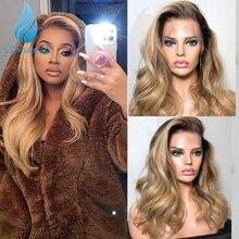 180 плотность 13x4 кружевные передние человеческие волосы парики бразильские Реми Омбре медово-золотые человеческие волосы парик для черных ж...