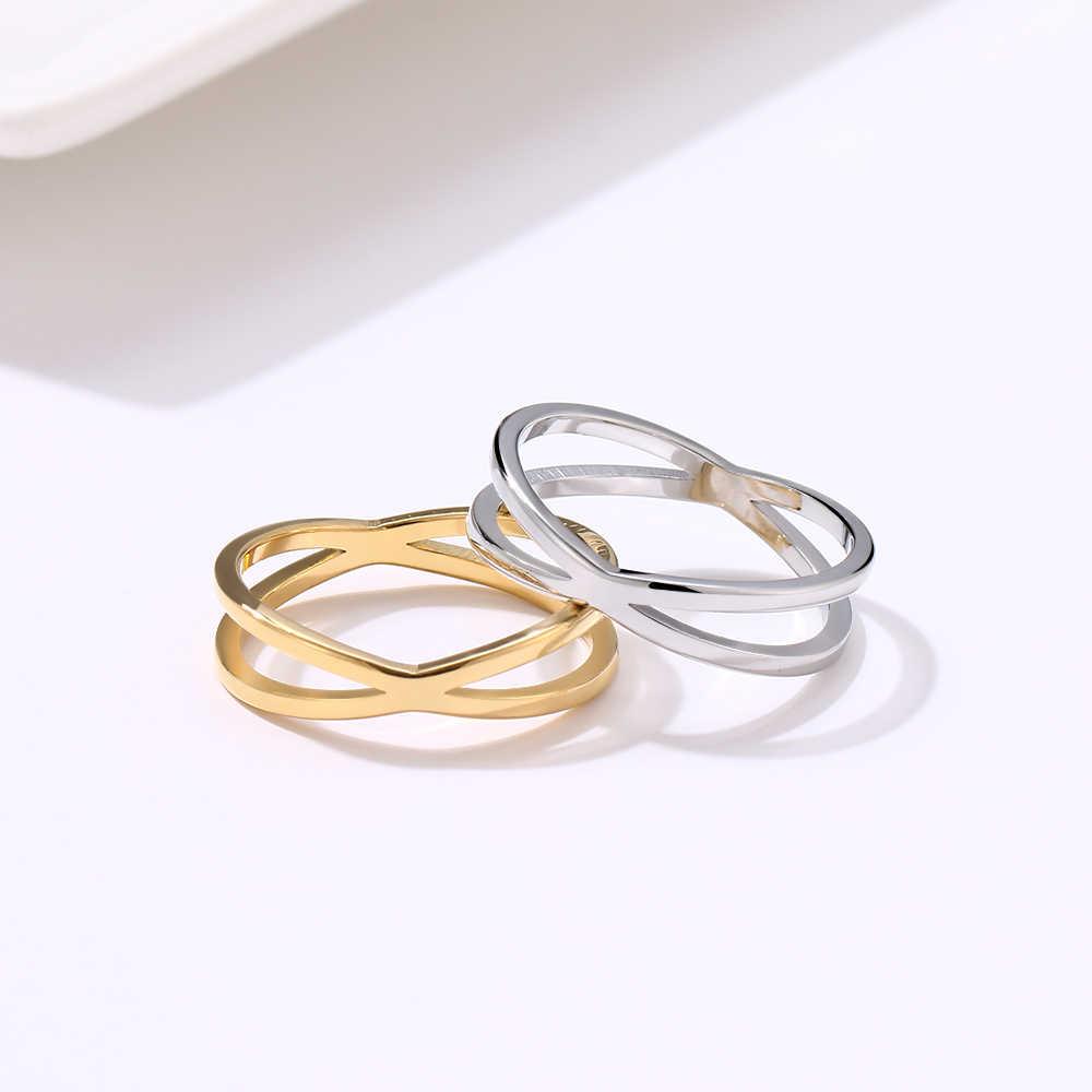 CACANA czeski Vintage krzyż złote pierścionki dla kobiet ślub modny stalowy łańcuch biżuteria duże antyczne pierścienie Anillos W83