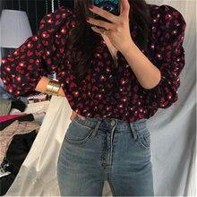 Винтажные сексуальные шифоновые рубашки с глубоким v образным